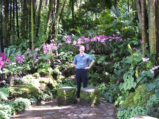 Ross in the orchid gardens in Singapore