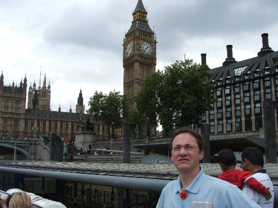 Ross in front of Big Ben and the British Houses of Parliament, London, England