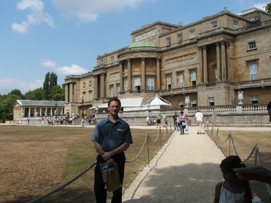 Ross out the back of Buckingham Palace after visiting the State Rooms, London, England