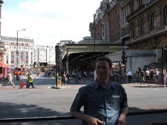 Ross outside Victoria Station, London, England