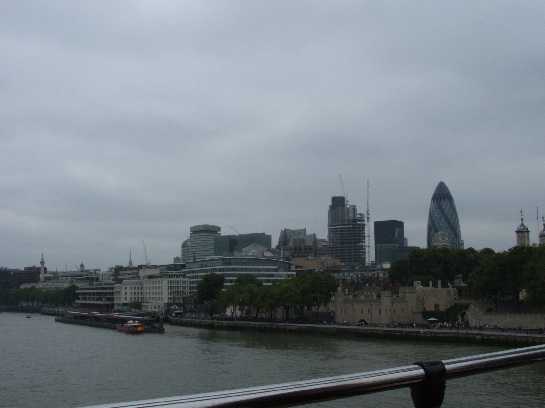 View of the Gherkin across the Thames, London, England