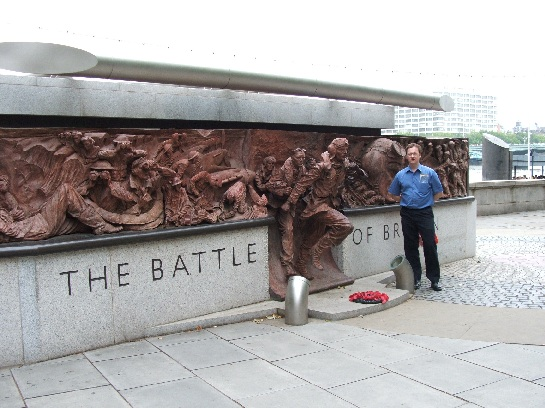 Ross at the Battle of Britain Monument on the banks of the Thames, London, England
