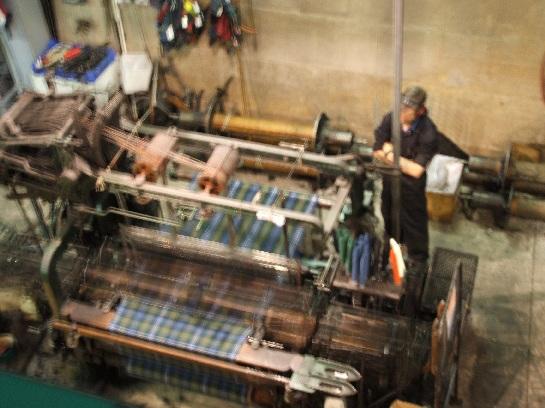 Wool Tartan Mill with tartan being woven, Edinburgh, Scotland