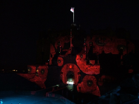 Edinburgh Castle draped in poppies at the 2006 Edinburgh Military Tattoo, Edinburgh Castle, Edinburgh Scotland