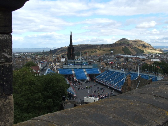 Edinburgh and Military Tattoo Parade Ground seen from Edinburgh Castle, Edinburgh, Scotland