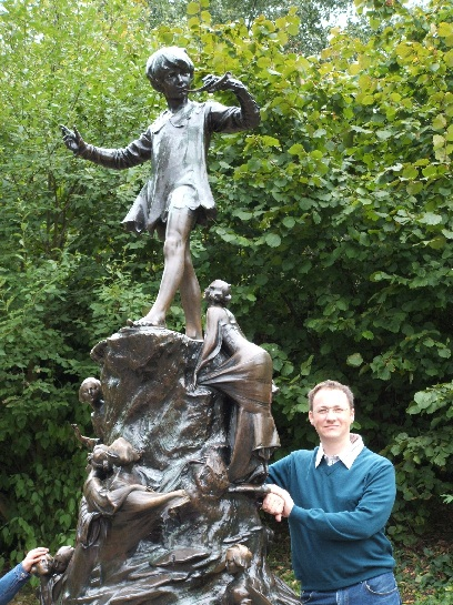 Ross with the Peter Pan Statue, Hyde Park, London, England