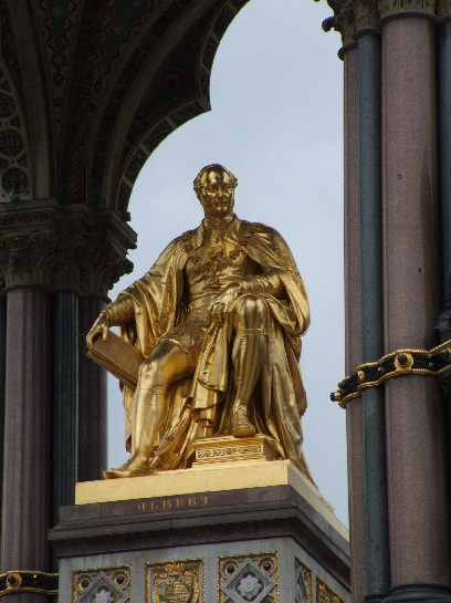 Close-up of Prince Albert, Albert Memorial, Hyde Park, London, England