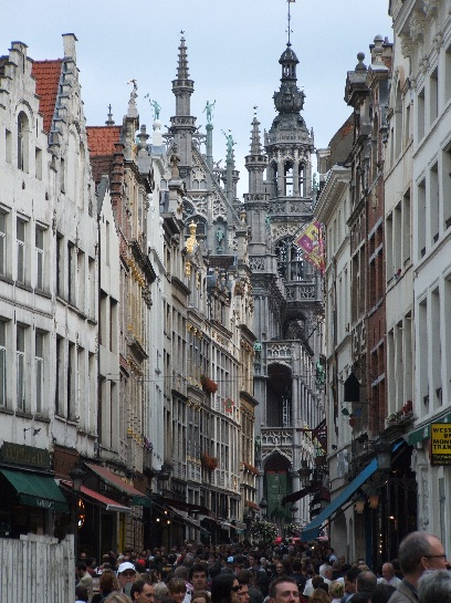 Main street in Brussels, Belgium