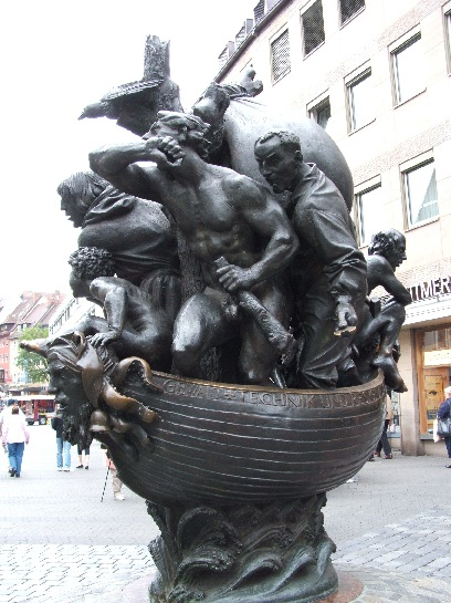 Statue of Boat and Crew at Nuremberg, Germany