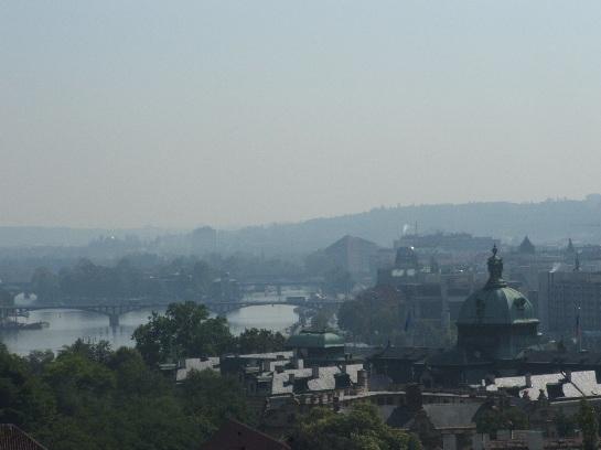 View of Prague, river and bridges from Prague Castle, Prague, Czech Republic