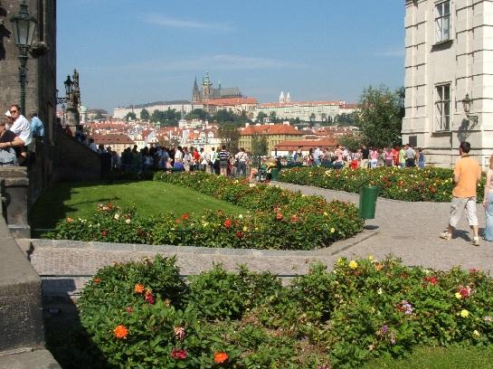Gardens and Prague Castle from banks of the river near Charles Bridge, Prague, Czech Republic