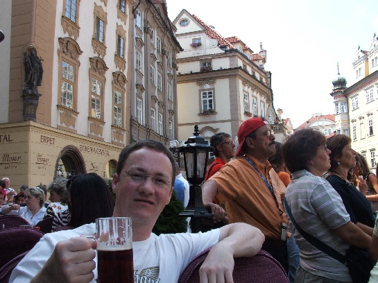 Ross with 'Ein Beer Bitter', Old Town Square, Prague, Czech Republic