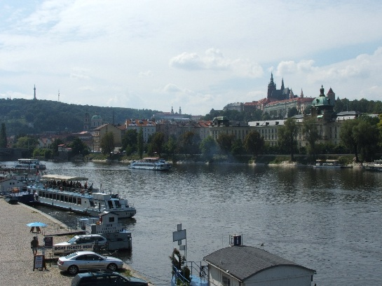 River Cruise in Prague with Prague Castle in the background, Prague, Czech Republic