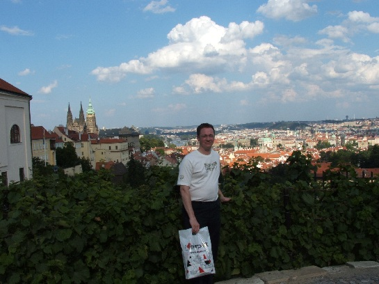 Ross and view of city of Prague, Czech Republic