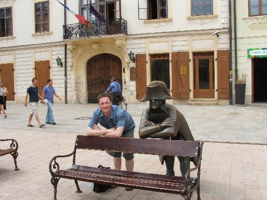 Ross and statue of Napoleon in central square, Bratislava, Slovakia