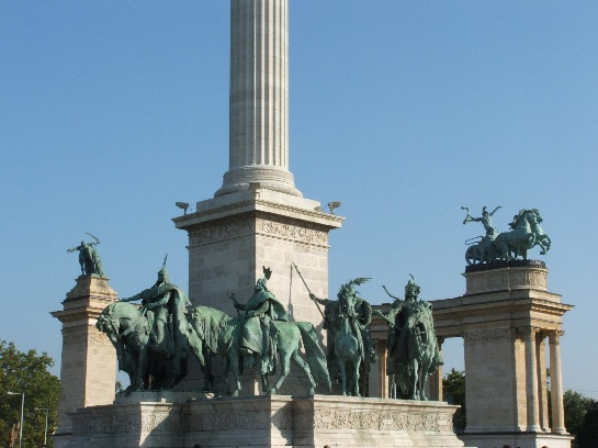 Statues in Heroes' Square, Budapest, Hungary