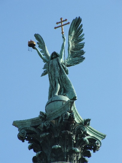 Statue of St Michael in Heroes' Square, Budapest, Hungary
