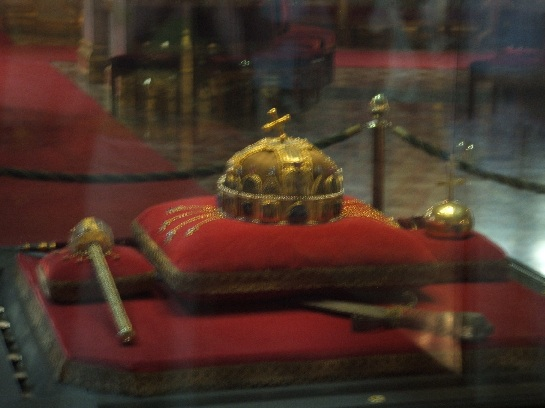 Crown Jewels of Hungary (with the crown that was dropped), Inside the Houses of Parliament, Budapest, Hungary