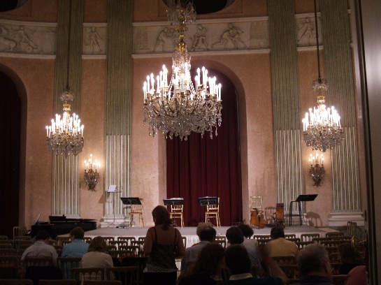 Inside the Austrian Opera House for a recital, Vienna, Austria