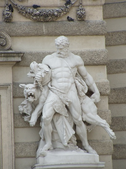 Sculpture of the Trials of Hercules. Hercules fighting Cerberus, the guard dog of the Underworld. Vienna, Austria