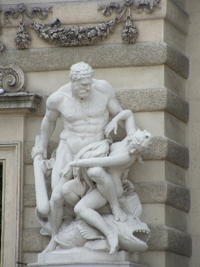 Sculpture of the Trials of Hercules. Hercules fighting Hippolyte the Amazon Queen. Vienna, Austria