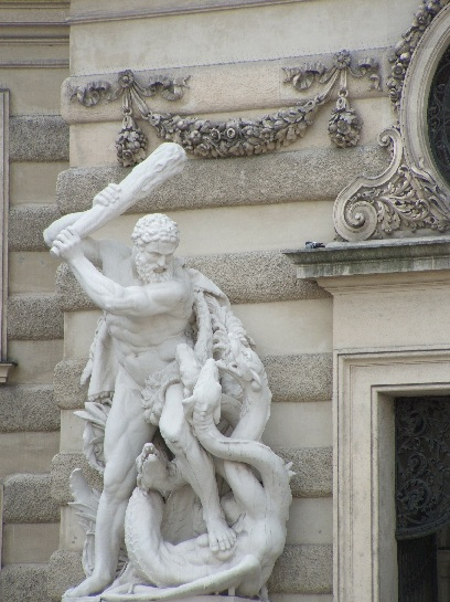 Sculpture of the Trials of Hercules. Hercules fighting the Hydra. Vienna, Austria