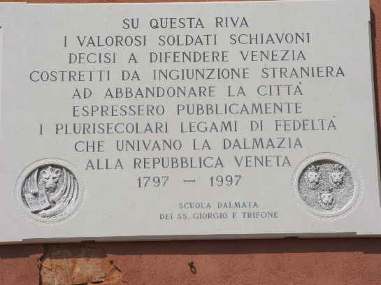 Plaque commemorating Napoleon's overthrow of the Doge and the Republic of Veneta in 1797, Venice, Italy