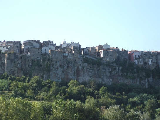 Cliff homes of the Latin tribes of the area before the Romans conquered them, Italian countryside, Italy