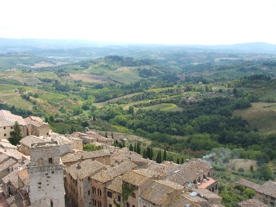 View from the Bell Tower of San Gimignano and surrounding countryside, Tuscany, Italy