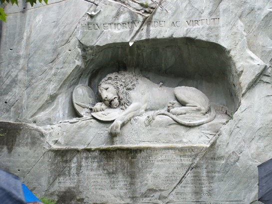 Lion Monument to the Swiss Guard killed during the French Revolution 1792, Lucerne, Switzerland