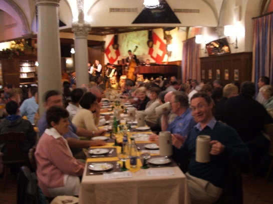 Ross with two tankards at the Highlight Dinner, Lucerne, Switzerland