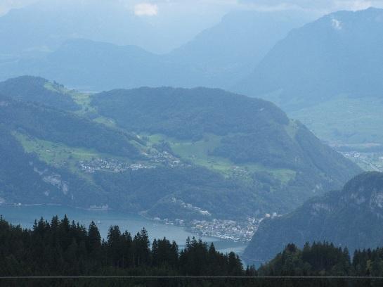Sky rail up Mount Pilatus looking towards Lucerne, Switzerland