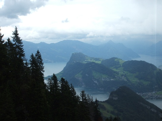 View from Mount Pilatus coming down by rail car, Lucerne, Switzerland