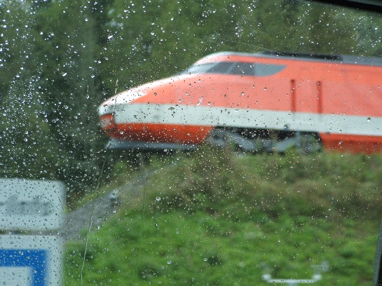 Model of First Highspeed Train, heading north to Paris, France