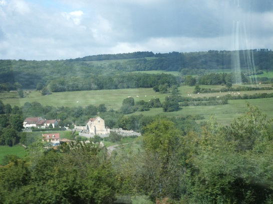 French countryside heading north to Paris, France