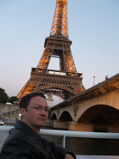 Ross in front of the Eiffel Tower, Paris, France