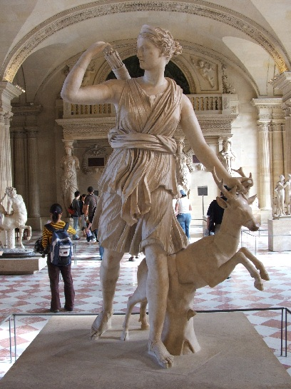 Statue of Athena, Goddess of the Hunt, inside the Louvre, Paris France