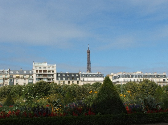 View of Eiffel Tower from the gardens around Napoleon's Tomb, Paris, France