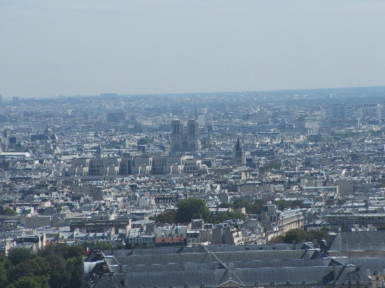 View of Paris and Notre Dame from the Eiffel Tower, Paris, France