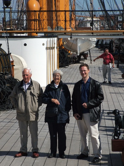 Pat, Ray, and Ross on H.M.S. Warrior, Portsmouth, England