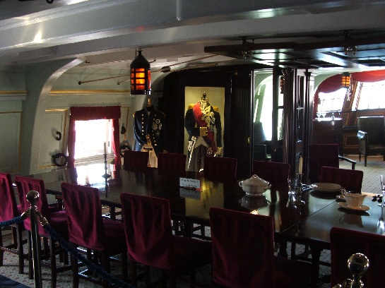 Captain's Cabin below decks on H.M.S. Victory, Nelson's Flagship at Trafalgar, Portsmouth, England
