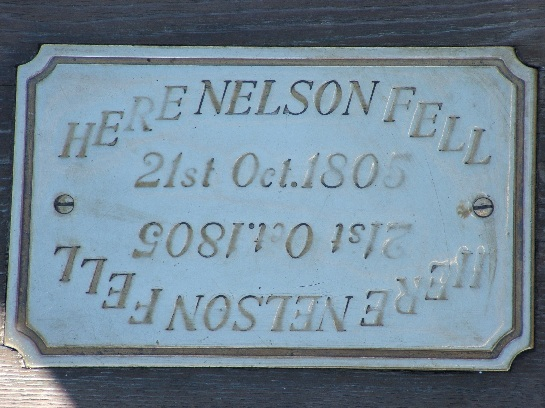Plaque commemorating where Nelson fell on H.M.S. Victory, Nelson's Flagship at Trafalgar, Portsmouth, England