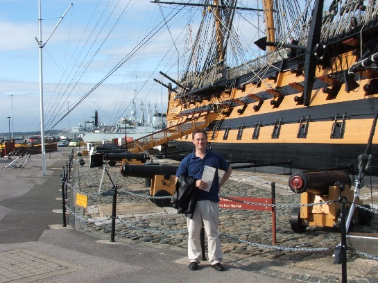 Ross in front of H.M.S. Victory, Nelson's Flagship at Trafalgar, Portsmouth, England
