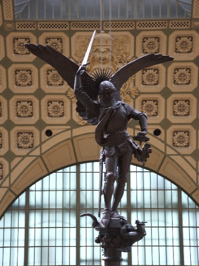 Statue of St. Michael in the foyer of the Musee D'Orsay, Paris, France