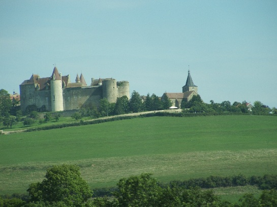 A Chateau seen while travelling south through the countryside of France