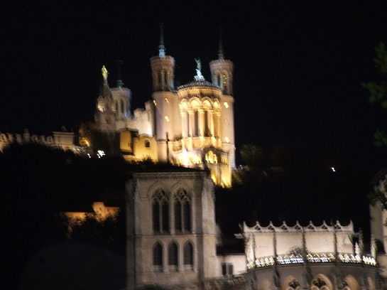 The Cathedral in Lyon by night, France