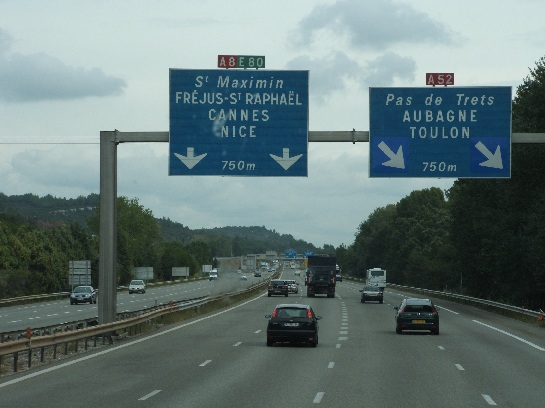 The highway south travelling towards Nice, France