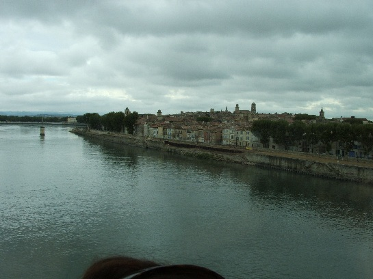 Crossing the bridge into Nimes, France