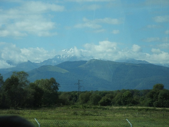 French Spanish Pyrenees seen while travelling north west to Biarritz, France
