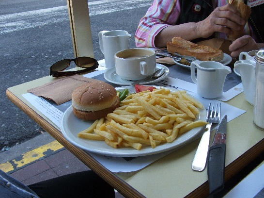Hamburger and chips at Lourdes, France